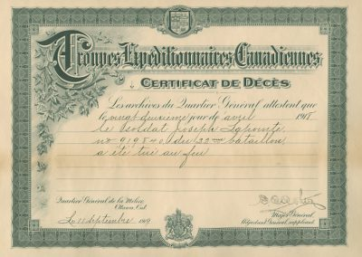 Certificat de décès de Joseph Ernest Lapointe